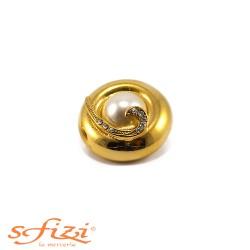 Bottone Placcato Oro con Perla centrale e Strass Il Gioiello di Firenze