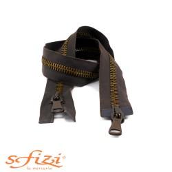 Zip Hinge chain 8 Double Slider in Brass 65 cm