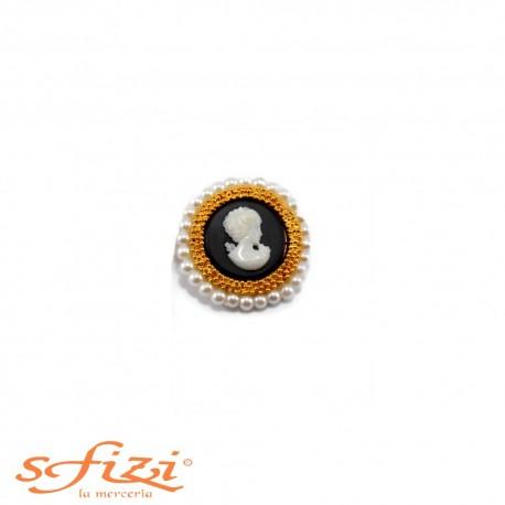 Bottoni Cammei bordato con perline mm 28