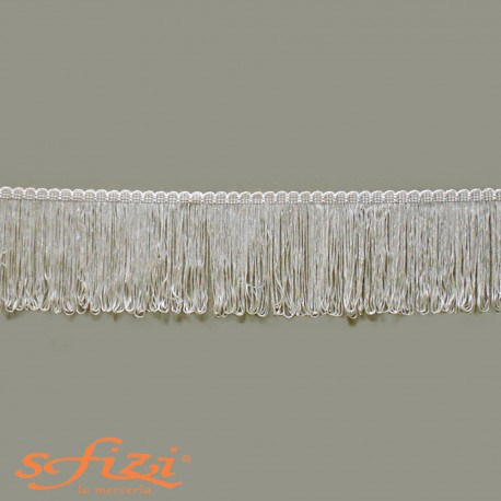 Frangia in Rayòn Bianco Seta cm 10