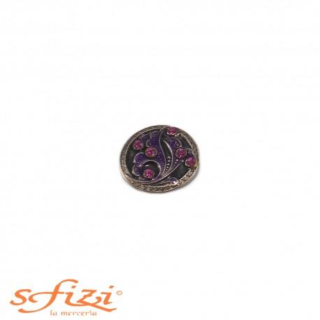 Bottoni Argento/nNero con strass Viola mm 23