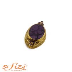 Bottoni Viola castone Oro mm 45 x 25