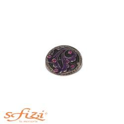 Bottoni Argento/Nero con strass Viola mm 27