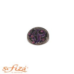 Buttons Silver / Black with purple strass 27 mm