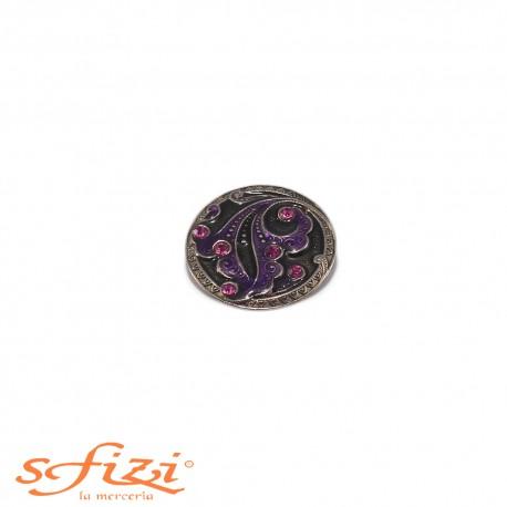 Bottoni Argento/nNero con strass Viola mm 27