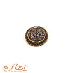 Buttons Gold / Gunmetal with strass Purple 30 mm