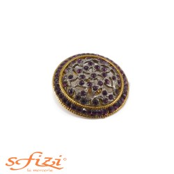 Buttons Gold / Gunmetal with strass Purple 40 mm
