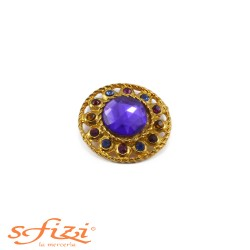 Buttons Multicolor strass with crown in Brass ring with central Purple 34 mm