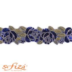 Passamaneria Fiori Ricamata con Paillettes cm 5