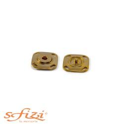 Bottoni Automatici per Giacche, Giacconi, Cappotti Base Quadrata Oro mm 15 x 15