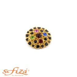 Bottoni Strass Multicolor Castonati Oro De Liguoro mm 29