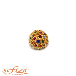 Bell-shaped Multicolor Rhinestone Buttons De Liguoro 22 mm