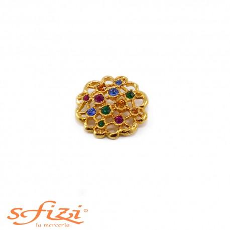 Bottoni Strass Multicolor Castonati Oro De Liguoro mm 28